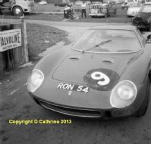 "FERRARI 250LM Ron Fry's car at Mallory c.1966. 8x8""(b)"